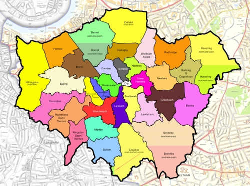A colourful map of the London Areas